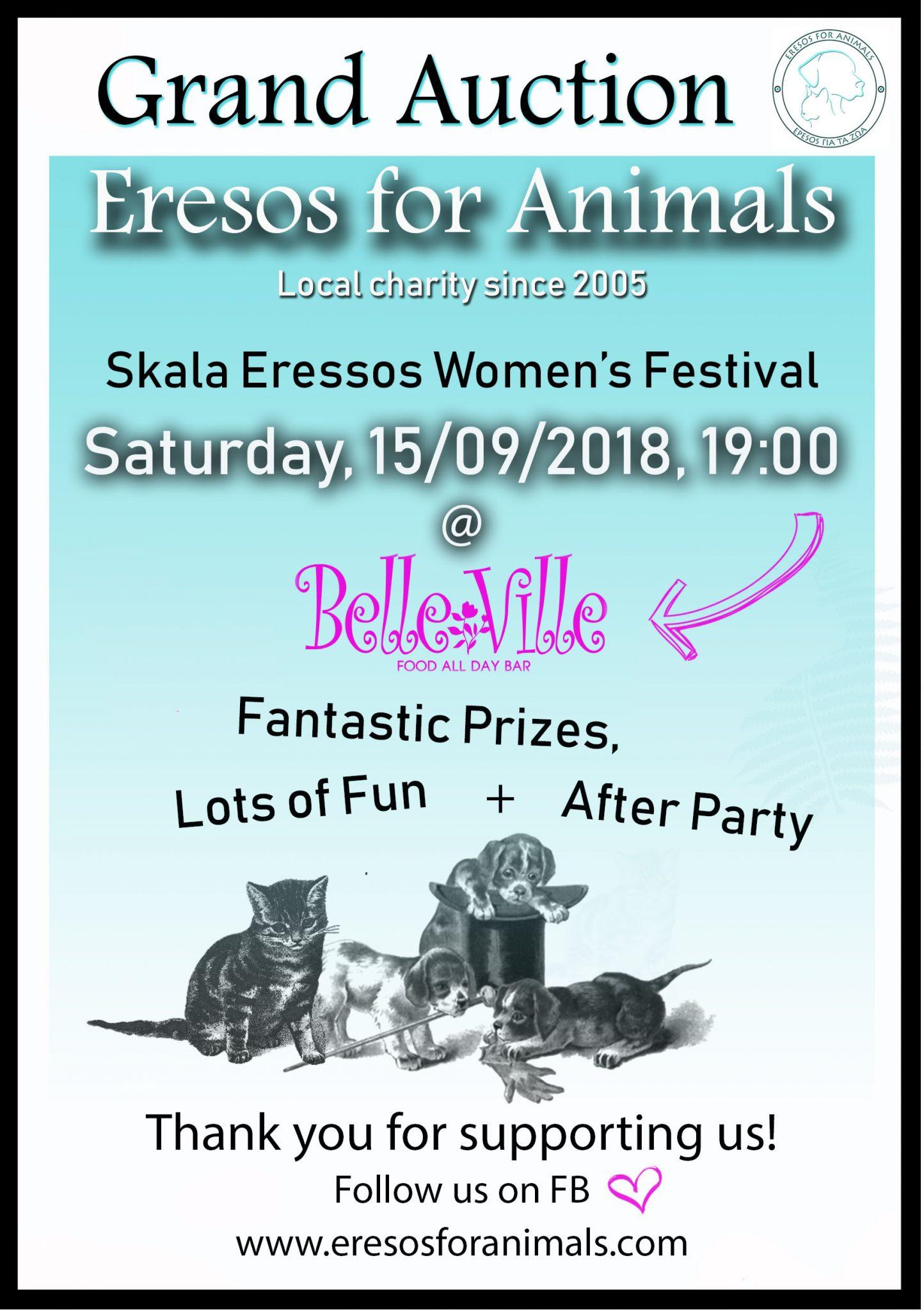 Eresos For Animals Grand Auction @ Belle Ville Cafe / Bar